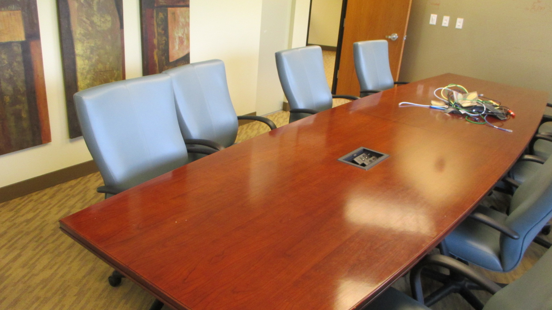 X Cherry Veneer Conference Table W Power Data - 14 foot conference room table