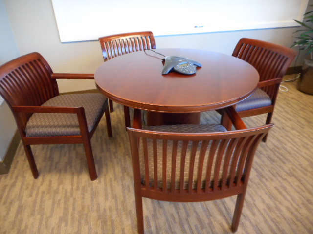 Cherry Veneer Round Table Systems Office Furniture - 42 inch round office table