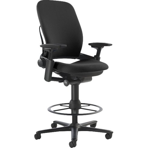 Leap V2 Black Fabric Drafting Stool By Steelcase