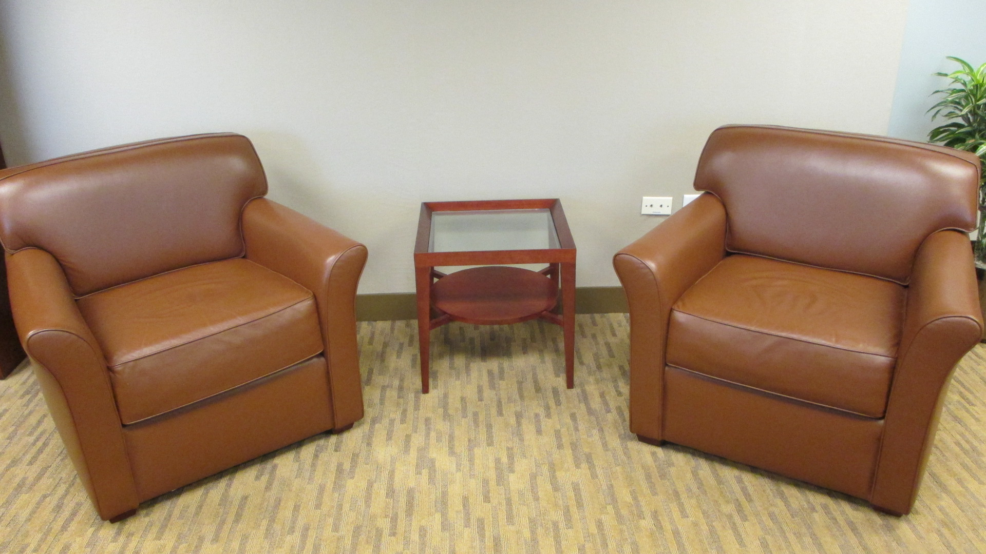 Caramel Leather Club Chairs By Bernhardt