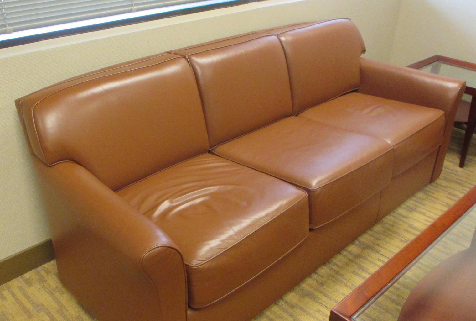 Used Office Furniture Caramel Leather Sofa By Bernhardt