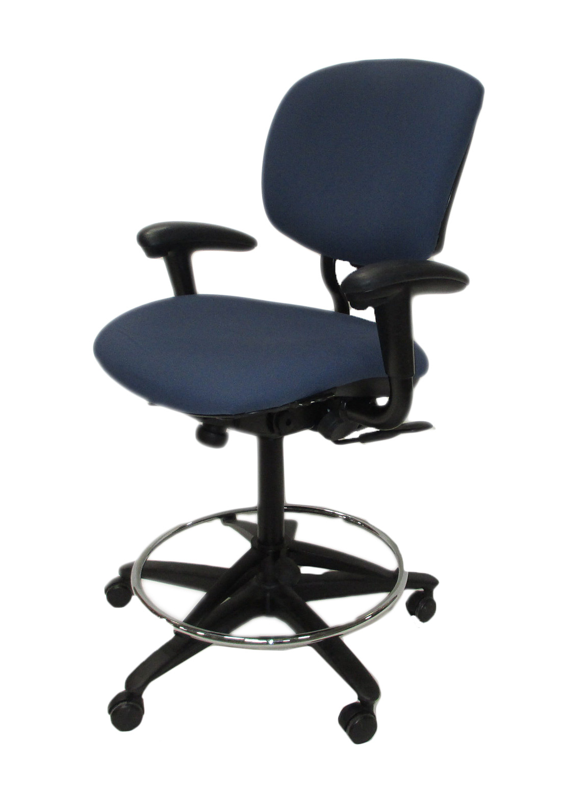 haworth improv he blue fabric drafting stool office chair