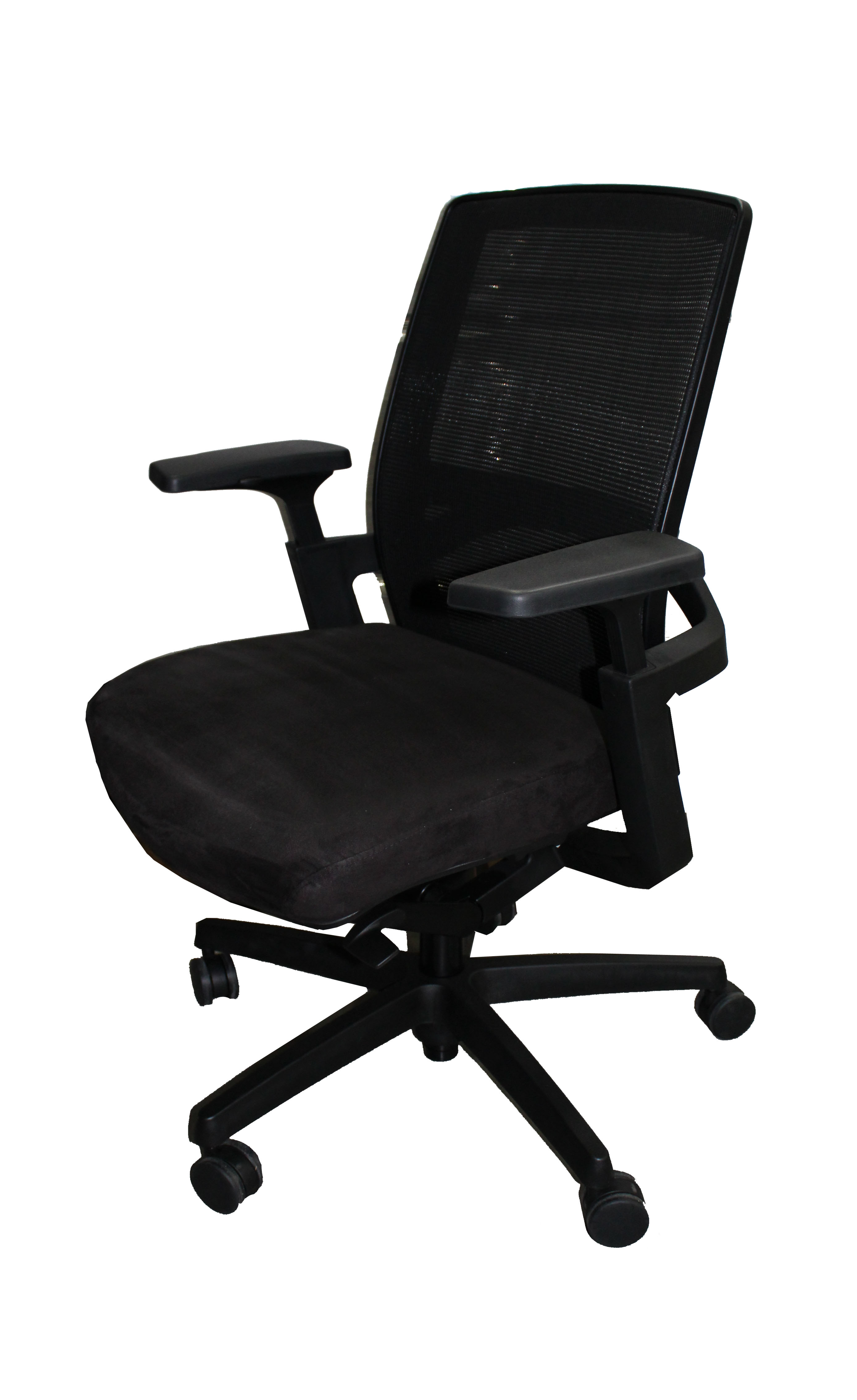 Used Office Furniture F3 Black Mesh Back Suede Seat