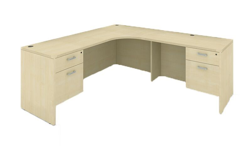L-Shaped Credenza with CC Suspended Pedestal