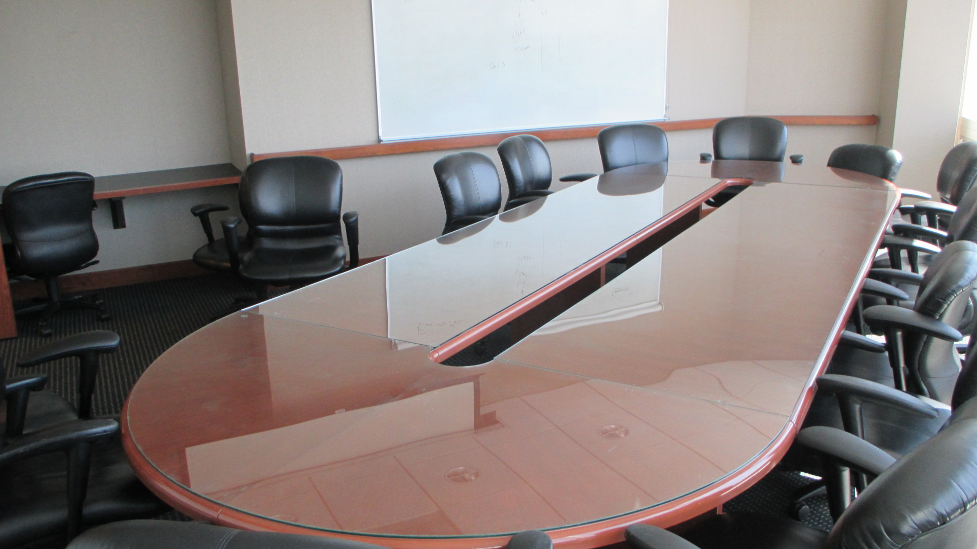 15u0027 Cherry Race Track Shaped Glass Top Conference Table