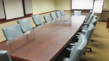 20' x 5″ Cherry Boat Shaped Glass Top Conference Table
