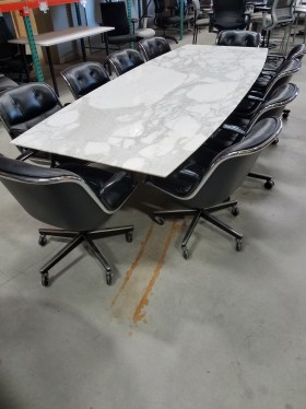 10'x4' Vintage White Marble Conference Table