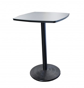 Square Cafe Table With Metal Base And Black Laminate