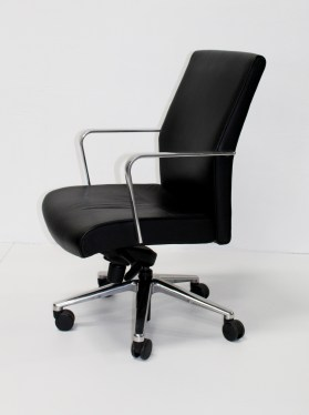 Keilhauer Black Leather High Back Chair