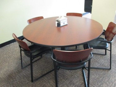 42″ Round Cherry Laminate Table By Haworth