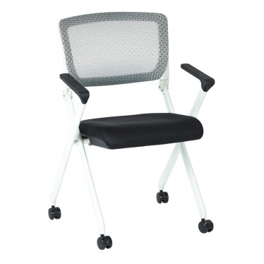 White and Black Flex Back Nesting Chair with Arms by Space Seating