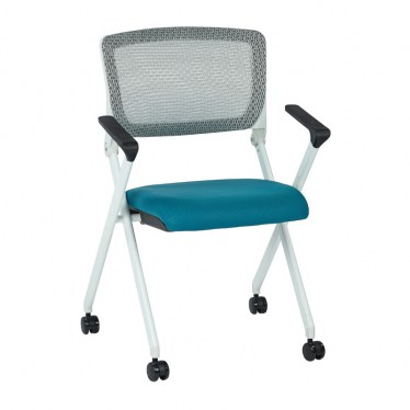 White and Color Flex Back Nesting Chair with Arms by Space Seating