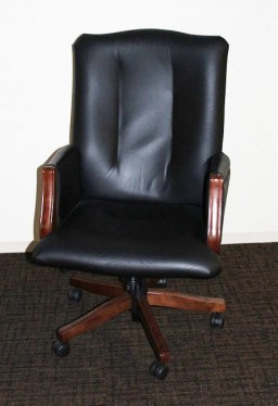 Clairmont Leather Wood Arms Conference Chair By Kimball