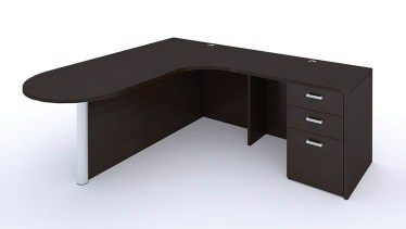 Bullet Shape L Desk with Wood Laminate