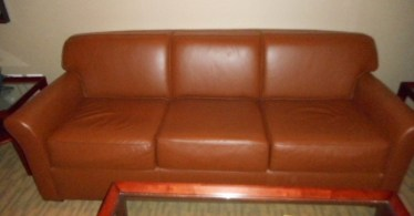 Rust Leather Sofa By Bernhardt