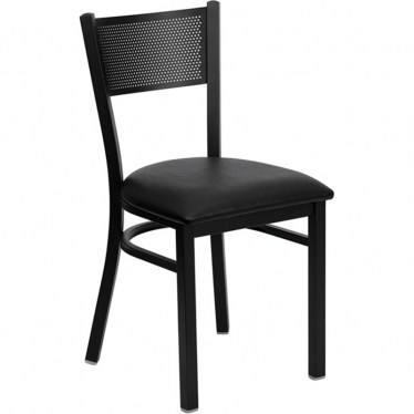 Black Grid Back Metal Chair by Space Seating