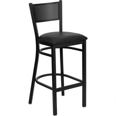 Black Grid Back Metal Bar Stool by Space Seating