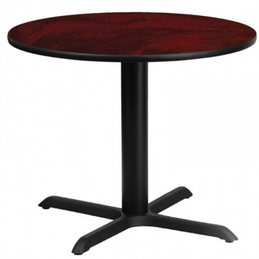 36 x 36 Round Break Height Mahogany Laminate Table with X Base by Space Seating