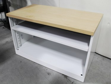 36″ Milk with Maple Laminate Top Steelcase 2 Shelf Bookcase