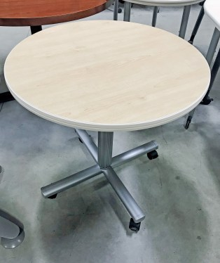 30″ Maple Laminate Round Mobile Table by Steelcase