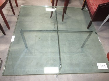 Glass and Metal Square Table