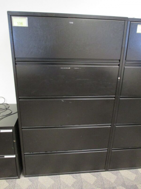5 Drawer 36″ Lateral File - Charcoal By Meridian