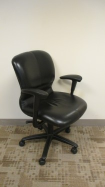 Improv Black Leather Conference Chair By Haworth