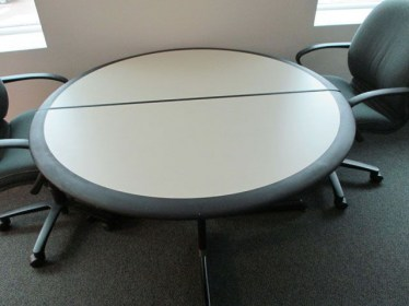 52″ Gray Laminate with Black Trim Round Table By Howe