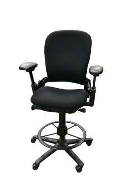 Leap V1 Black Fabric Drafting Stool By Steelcase