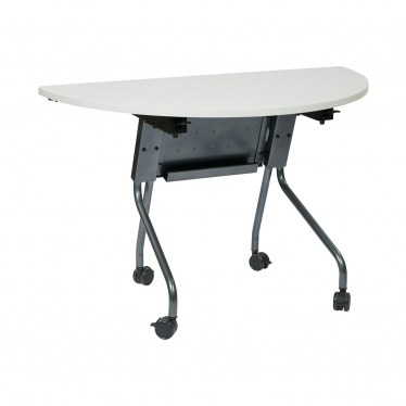 "48"" Wide Half-Round Flip-Top Table with Modesty Panel"