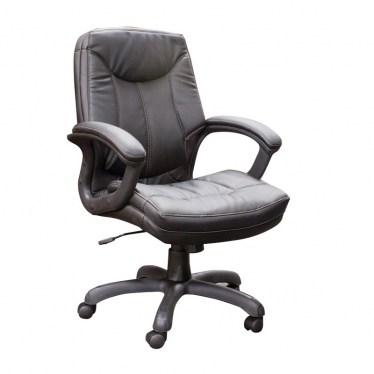 Black Executive Mid Back Faux Leather Chair by Space Seating