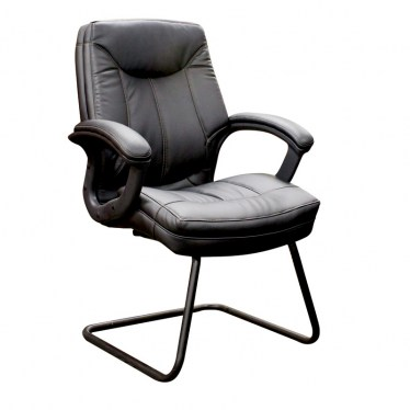 Padded Black Faux Leather Guest Chair by Space Seating