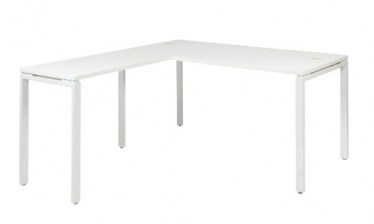 White L-Shaped Workstation by Space Seating