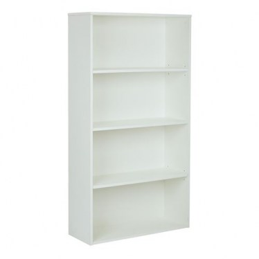 4-Shelf White Bookcase By Space Seating