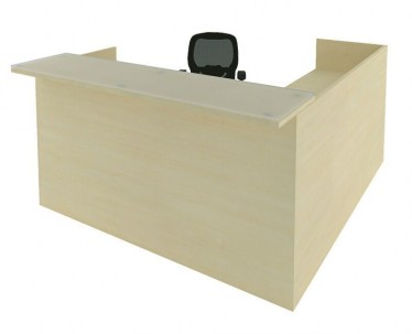 Reception L Desk with Glass Transition Top