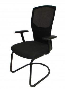 Sled Base Guest Chair with Black Fabric and Mesh