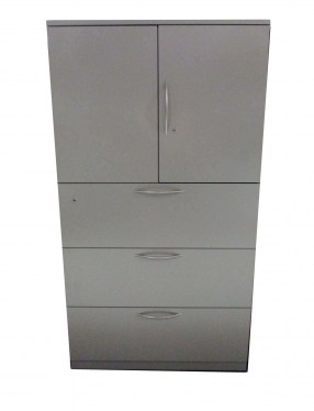 36″ 3 Drawer Gray Metal Storage Tower By Steelcase
