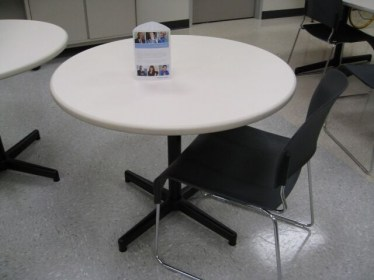 36″ Round White Laminate Table By Steelcase