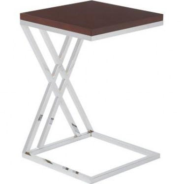 Espresso and Chrome End Table by Space Seating
