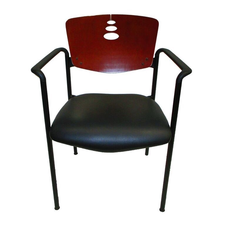 Harter Black Vinyl With Wood Back Guest Chair 1